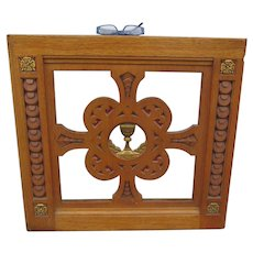 Antique Hand Carved Gothic Oak Gate, Ecclesiastical, Architectural Element w/ Chalice