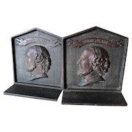 Antique William Shakespeare Cast Iron Bookends, Desk or Library Decor