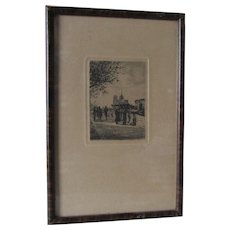 Lovely c1928 Signed Etching, Engraving of People Buying Art