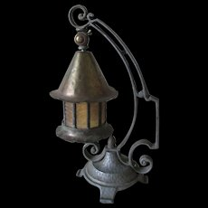 Antique Arts & Crafts Student Lamp with Stained Glass Shade