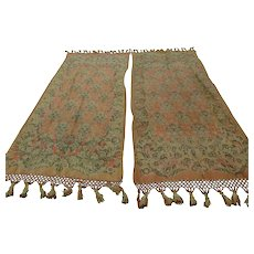 Rare Pair c1880s Victorian Tapestry  Portiere Drapes, Curtains