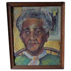 Vintage c1940s Southern Folk Art Portrait of a Lady