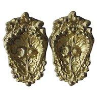 Pair c1870s Gilded Brass Architectural Ornaments, Curtain Drape Tiebacks