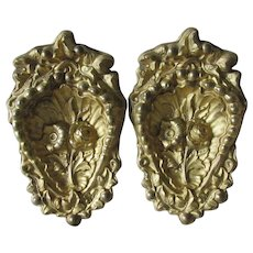 Pair c1870s Gilded Brass Architectural Ornaments, Curtain Drape Tiebacks