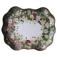 Lovely c1940s Hand Painted Tole Tray with Floral Motif, Tole, Folk Art