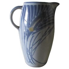 Antique c1907 Arts & Crafts  Pitcher, Hand Painted, Signed