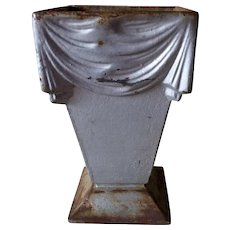 Antique French Cast Iron Garden Urn with Draped Linen Motif
