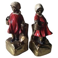 Charming Armor Bronze Bookends of Little Girls