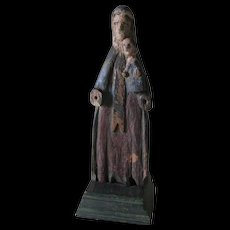 Old Hand Carved Wood Folk Art Santos Figurine with Painted Finish