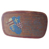 Vintage Scandinavian Pantry Box with Crest, Shield & a Verse
