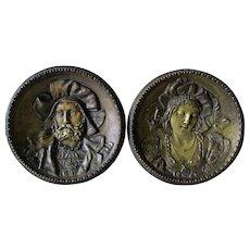 Lovely Pair 19thC Decorative Plaques of a Renaissance Couple
