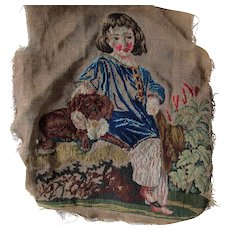 Antique c1880s Petit Point Tapestry, Sampler of Boy & Dog