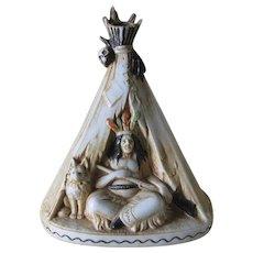 Art Deco Native American Indian & Dog Incense Burner, Schafer Vater