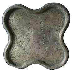 Antique Hand Engraved Persian Ethnographic Tray, Middle Eastern Brass