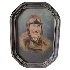 Rare Antique Painted Photograph of Early Aviator, Aviation Pilot WWI Military