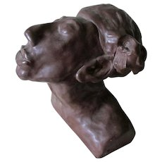 Hand Crafted Studio Sculpture, Pottery Bust of a Woman with Bandana
