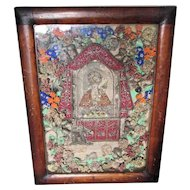 Antique Icon, Reliquary Shadowbox with Metallic Lace, Wool Flowers