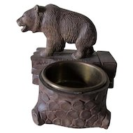 Vintage Black Forest Carved Bear Desk or Vanity Tray