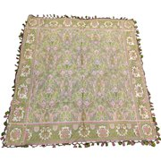 Lovely Antique Art Nouveau Tablecloth, Silk & Linen with Fringe