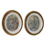 Pair 1800s Gilt, Gilded Oval Picture Frames with Old Glass, Godey Fashion Prints