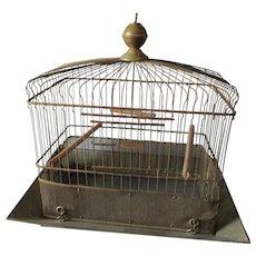 Antique Hendryx Brass Bird Cage with Original Brass Seed Guard