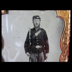 Antique Civil War Tintype Photograph, Soldier with Gun & Bayonet or Sword