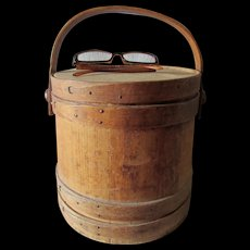 Antique Primitive Wood Firkin, Sugar Bucket, Signed, Country Accessory