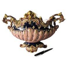 Antique Austrian Majolica, Faience Centerpiece, Vase in Very Good Condition