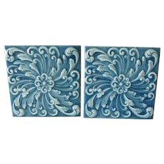 Pair Antique Aesthetic Movement Tiles by American Encaustic Tiling Co