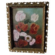 Antique Folk Art Oil Painting of Aster, Chrysanthemum Flowers