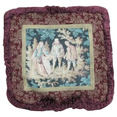 c1920s Renaissance Tapestry, Metallic Lace Pillow with Lovely Thick Fringe