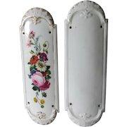 Pair c1890s French Old Paris Porcelain Push Plates for Doors, Architectural