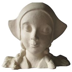 Lovely Art Nouveau Sculpture, Bust of a Young Dutch Girl with Braids, Figurine
