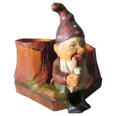 Vintage Black Forest Hand Carved Gnome Elf, Match Safe, Toothpick Holder