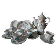 Antique c1890s  Hand Painted Child, Doll Tea Set for 6, Teapot, Cups, Plates