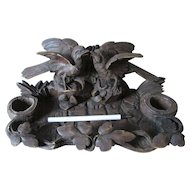 Antique Hand Carved Wood, German, Black Forest Inkwell with Birds