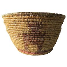 Antique Native American Indian Basket with Figures, Sineau Top