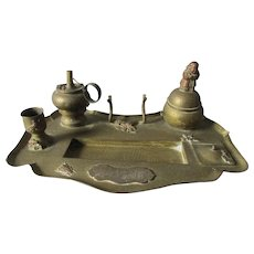 Antique Japanese Mixed Metal Inkwell, Cigar Lighter, Match Safe with Insects