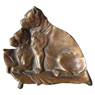 Antique Bronze Desk Vanity Tray with Dogs, Boxer or Staffordshire Terriers
