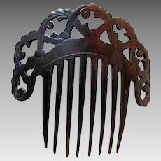 Antique c1860-1870s Ladies Hair Comb, Hand Carved Horn, Victorian Hair Accessory