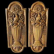Pair Elegant Art Deco Push Plates with Birds & Flower Urns, Architectural