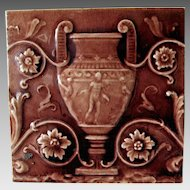 Antique Art Pottery Tile with Grecian Urn, Nude Man & Woman, Trent Tile Co
