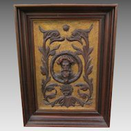Lovely Antique c1890s Hand Carved Wall Plaque with Dolphins, Renaissance Man & Cherub