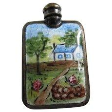 c1920s Art Deco Sterling Silver & Enamel Miniature Perfume Bottle with Dabber