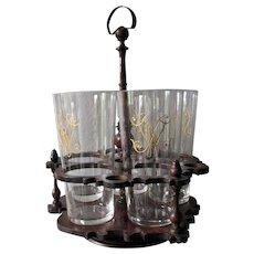 Antique c1890 Cut Glasses in Treen Caddy, Cut Glass Tumblers, Whiskey Glasses
