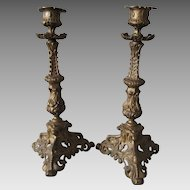 Pair Pretty Antique Victorian Candlesticks with Ivy Leaves