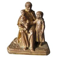 Antique Bronze Sculpture of a Pope or Cardinal with Children, Signed