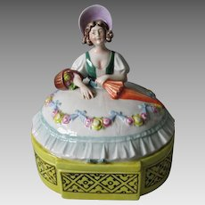 Art Deco Porcelain Lady Vanity, Jewelry Box by Schafer Vater, Germany
