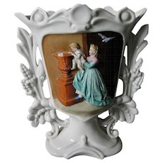 Antique 19thC Old Paris Porcelain Vase with Mother & Child at Fountain