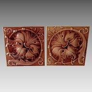 Pair Antique c1880s Art Nouveau Tiles by Hamilton Tile Works